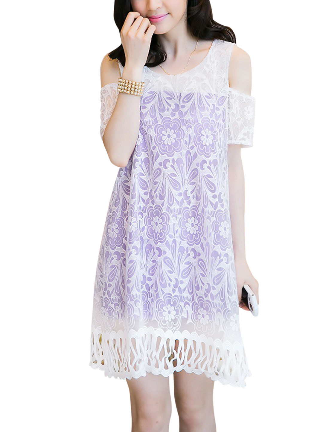 Lady Round Neck Lace Overlay Crochet Hem Lining Dress Lavender M