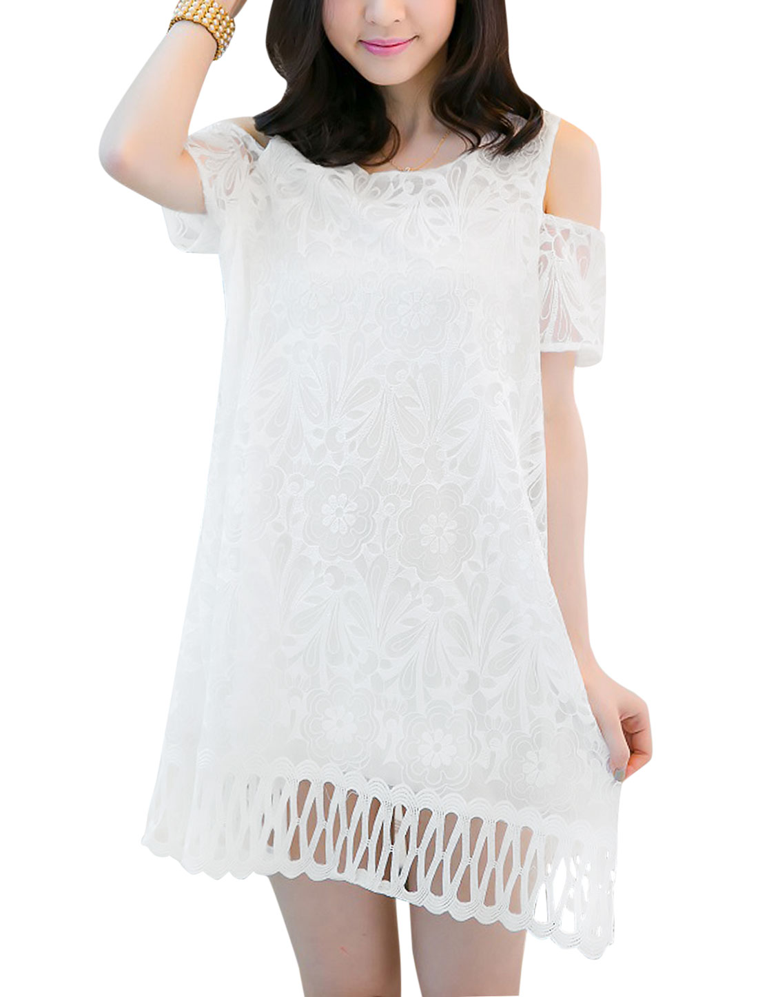 Lady Short Sleeve Cut Out Shoulder Lace Overlay Lining Dress White M