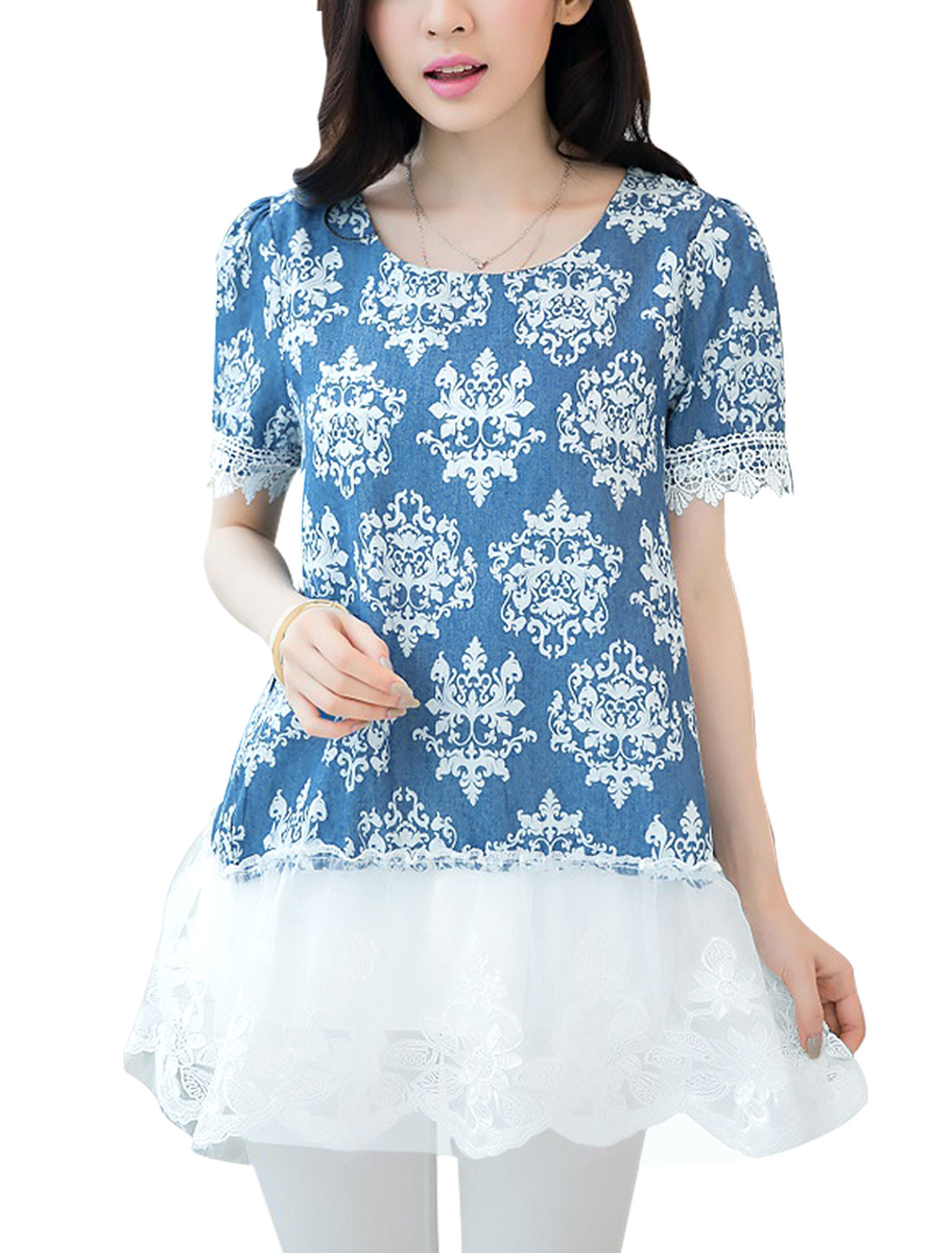 Lady Porcelain Print Organza Panel Short Sleeve Blouse Blue White S