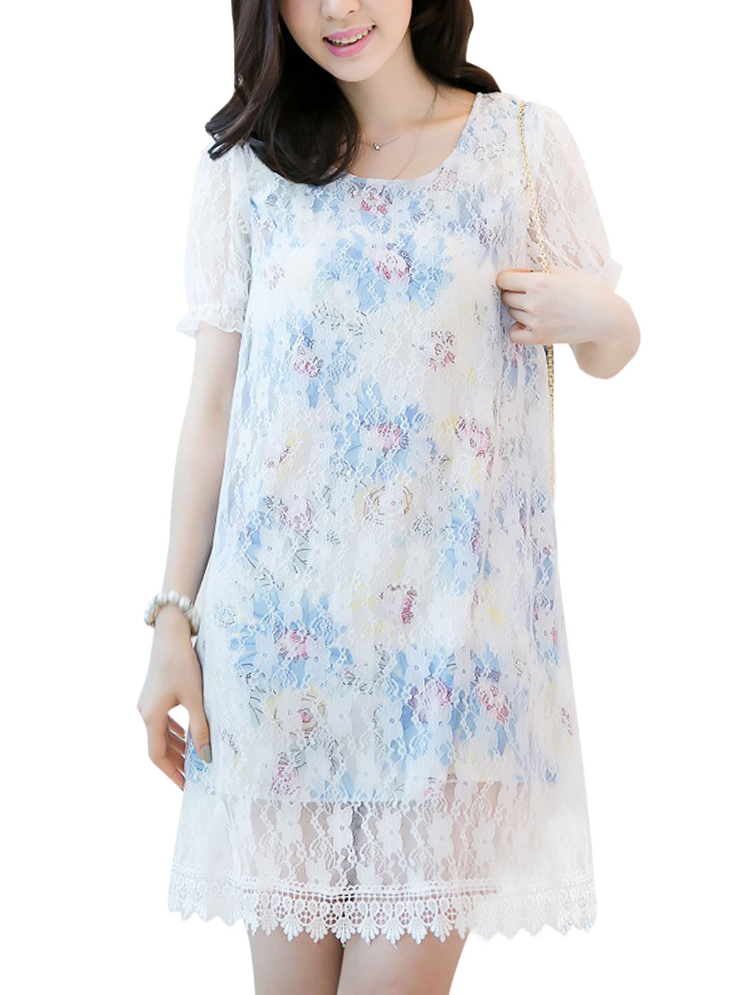 Lady Short Sleeve Floral Prints Lace Overlay Dress Sky Blue M