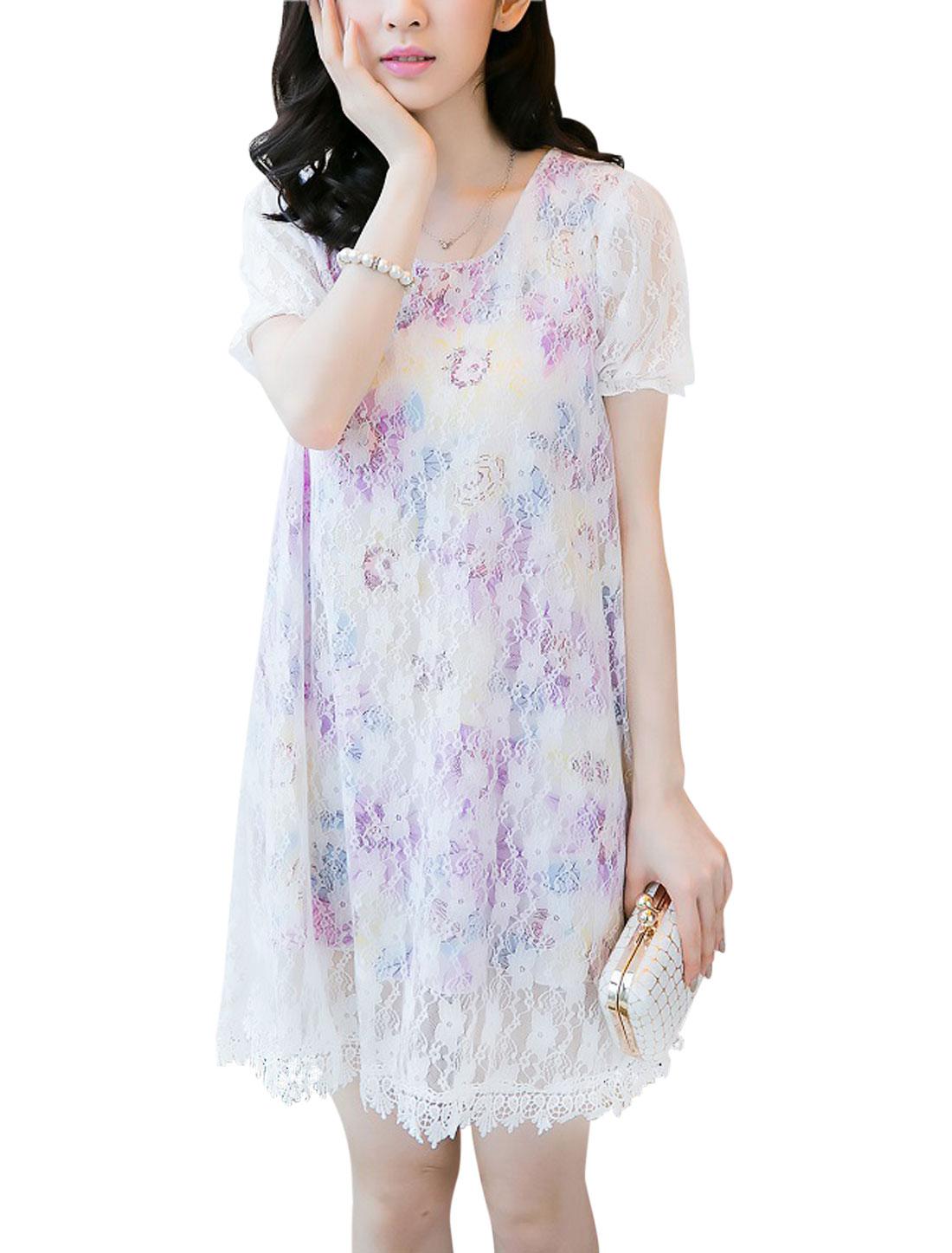Lady Short Sleeve Floral Prints Lace Design Dress Lavender M