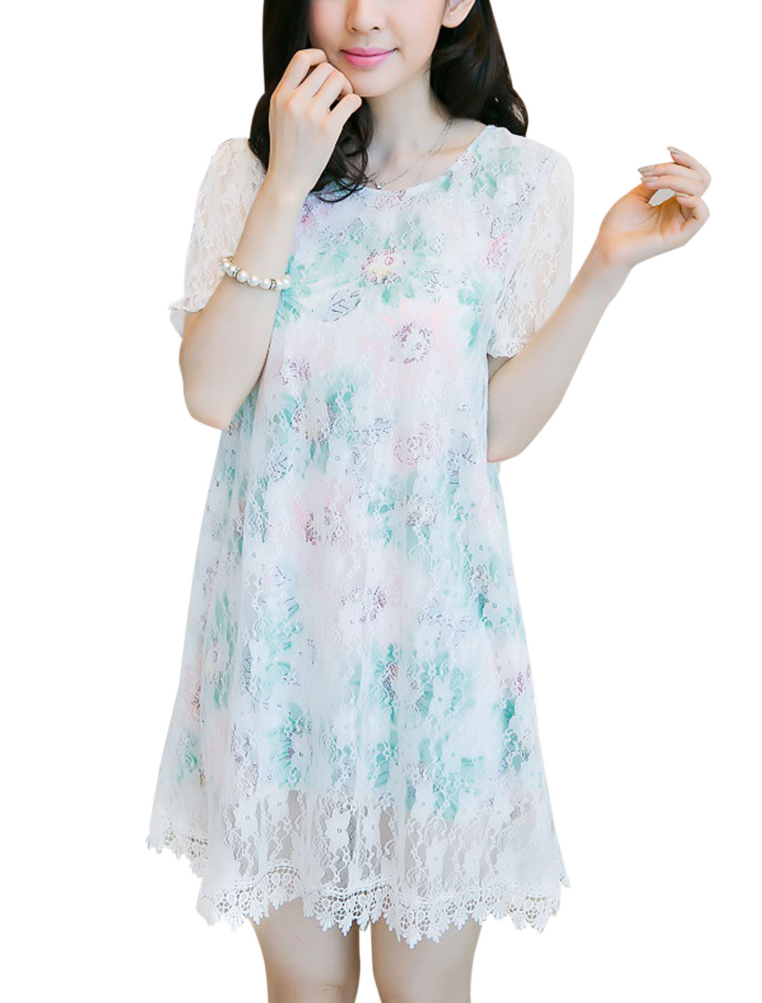 Lady Short Sleeve Floral Prints Lace Overlay Elastic Cuffs Dress Mint M
