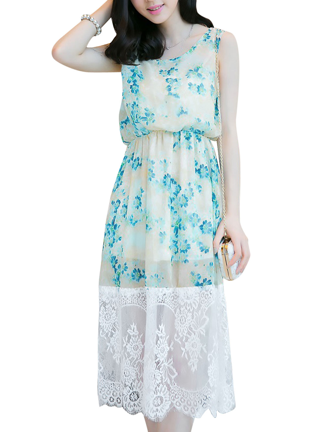 Women Lace Splicing Stretchy Waist Sweet Chiffon Tank Dress Turquoise Beige S