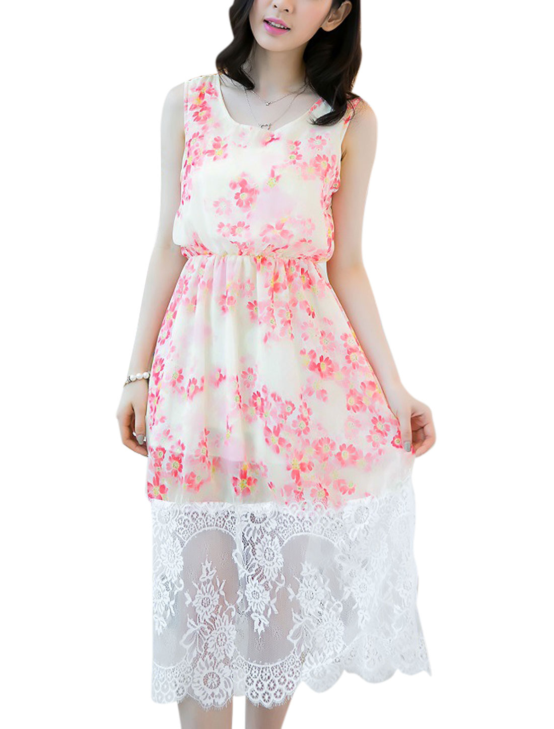 Lady Eyelashes Lace Trim Stretch Waist Sweet Chiffon Tank Dress Pink Beige S