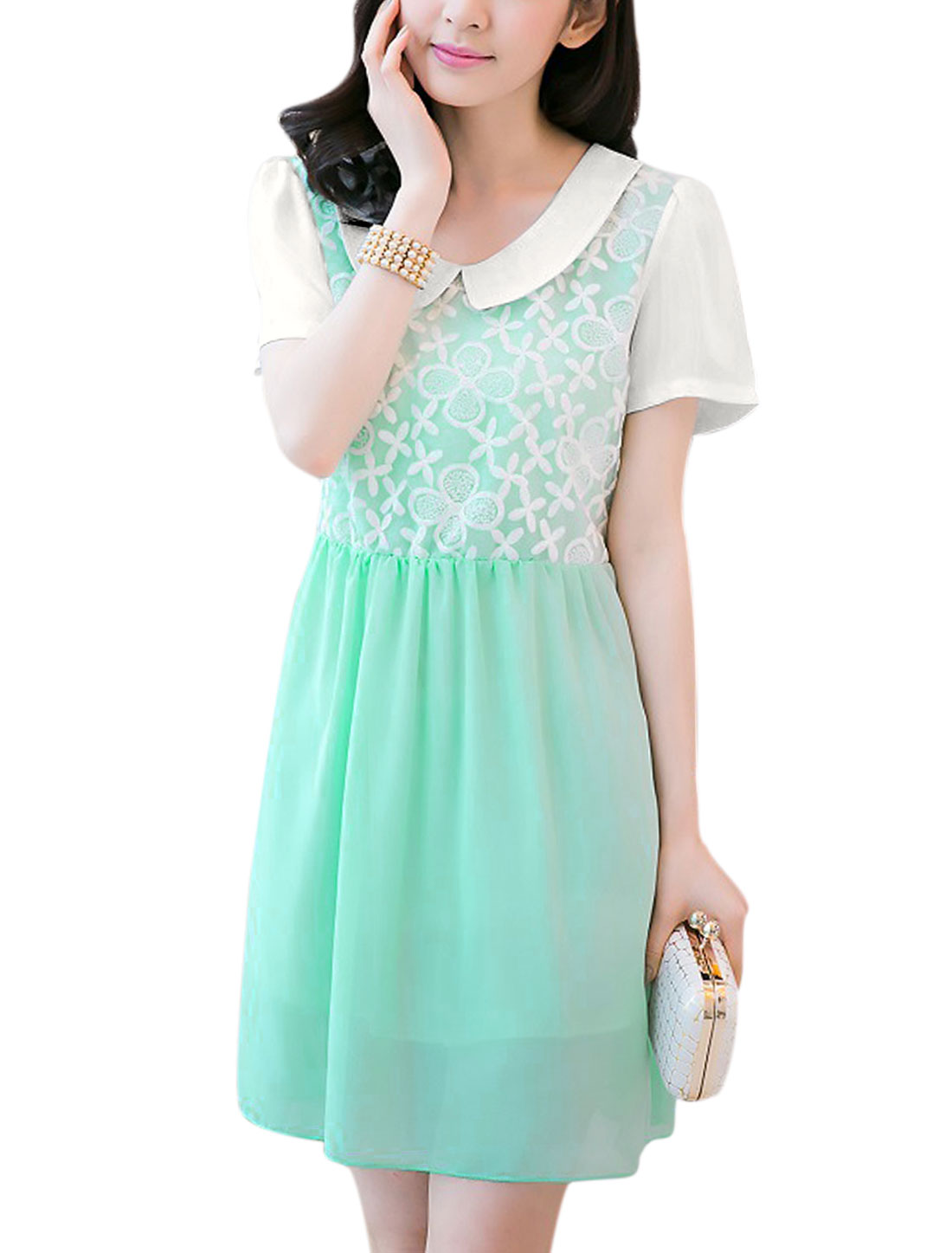 Women Doll Collar Self Tie Strap Organza Patch Chiffon Dress Mint M