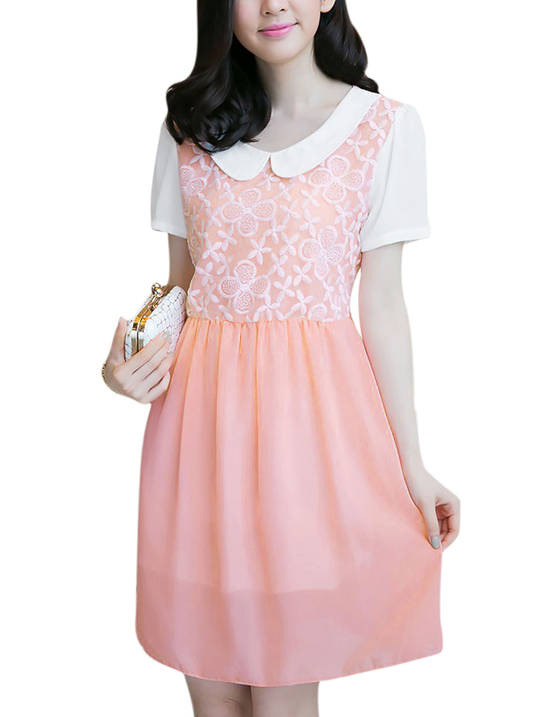 Women Doll Collar Short Sleeved Organza Patch Chiffon Dress Pink M