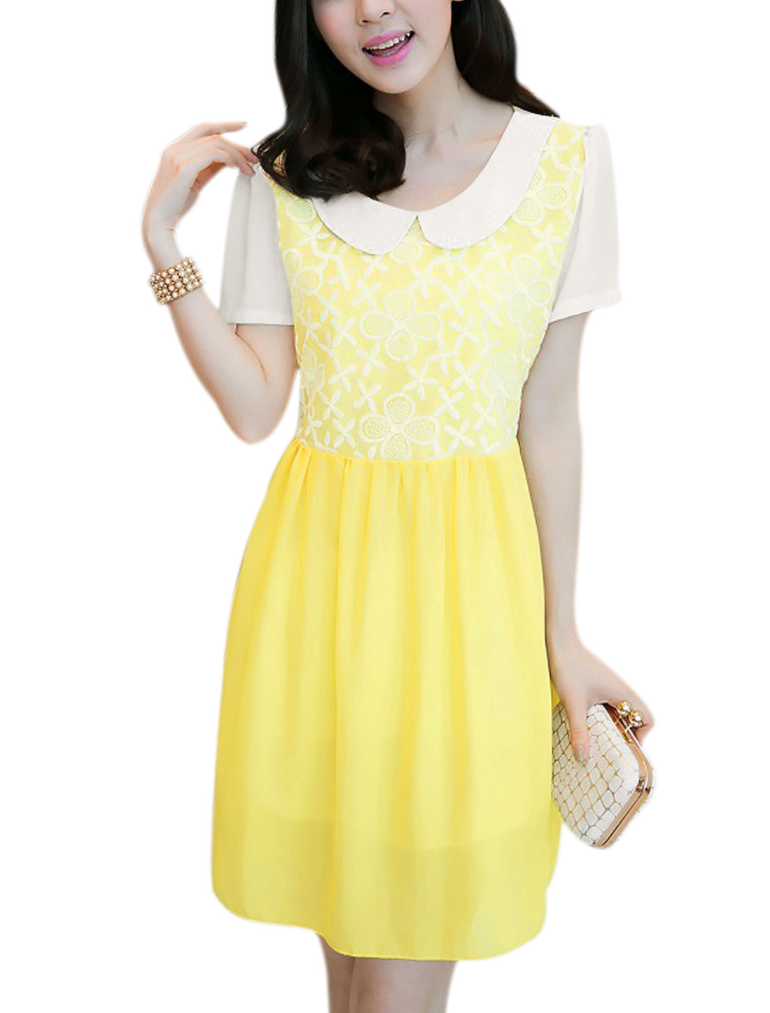Women Doll Collar Lining Organza Panel Chiffon Dress Light Yellow M