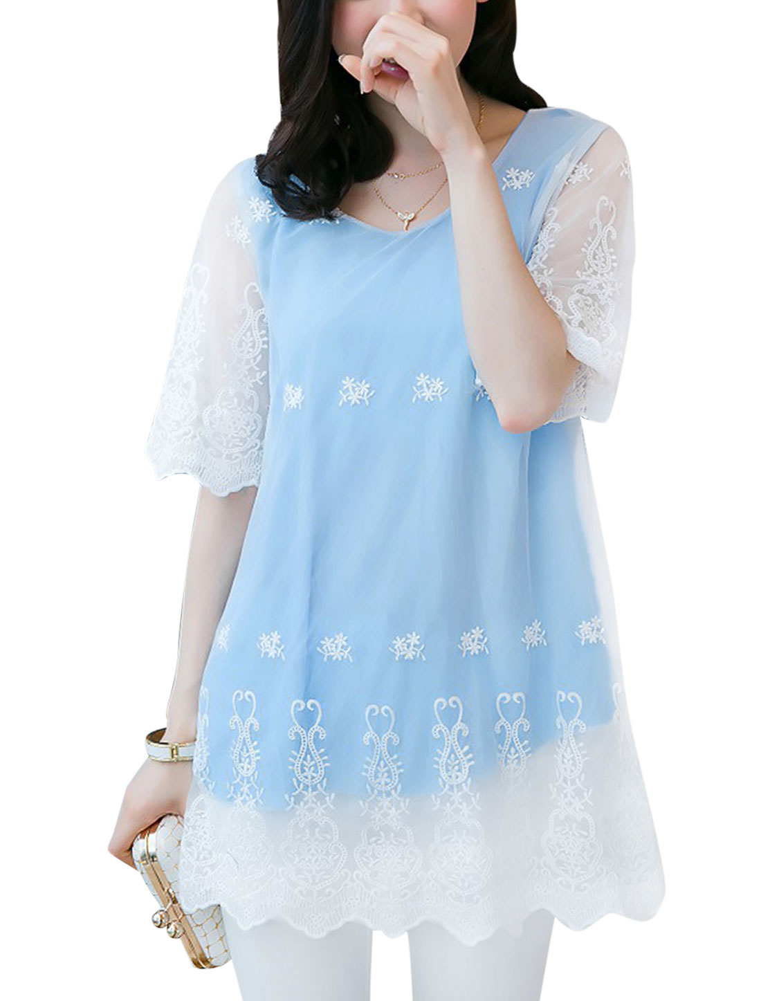 Lady Elbow Sleeve Mesh Overlay Flower Embroidery Tunic Top Sky Blue S