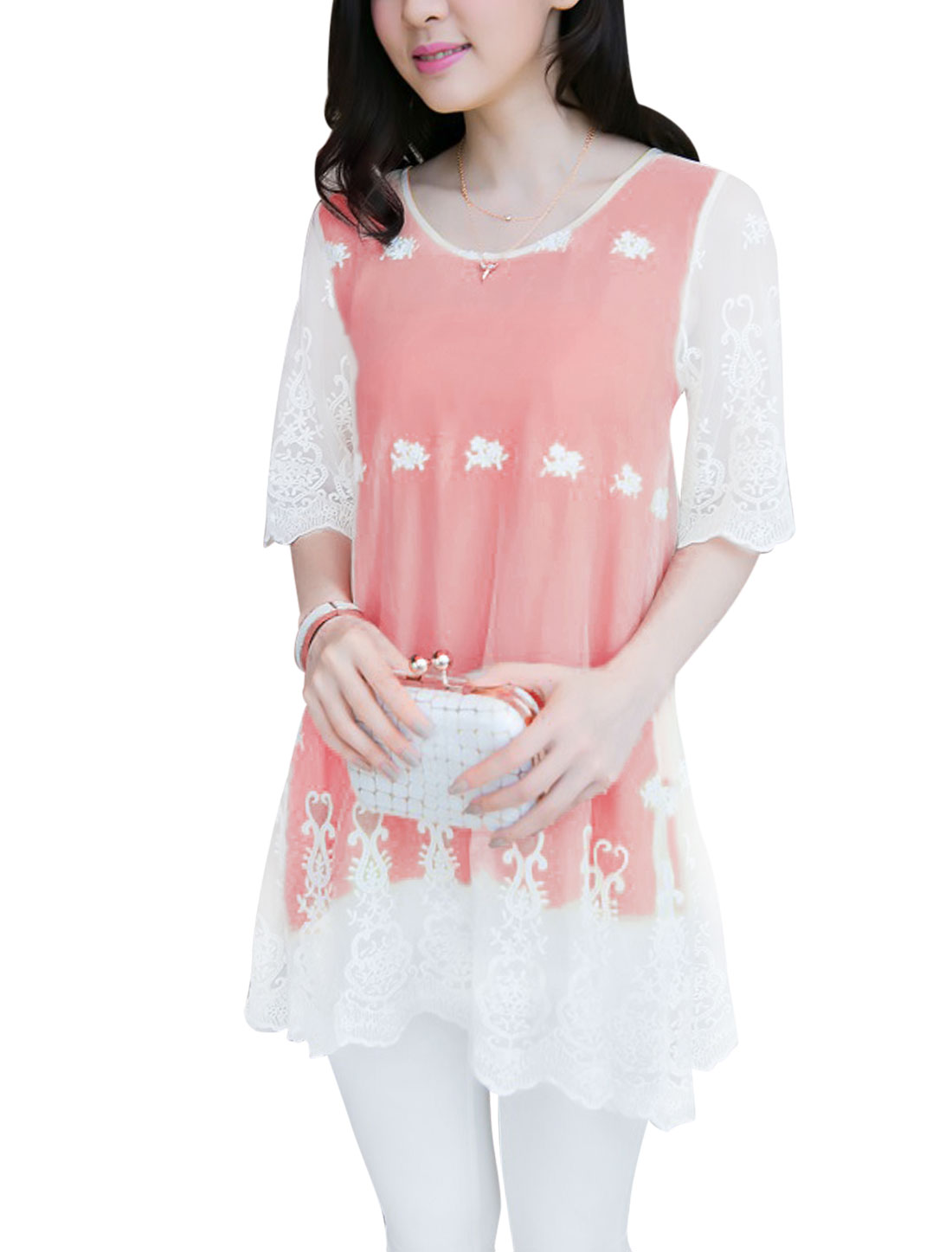 Lady Half Sleeve Mesh Overlay Flower Embroidery Tunic Top Pink S