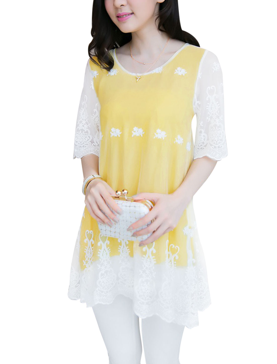 Lady NEW Elbow Sleeve Mesh Overlay Flower Embroidery Tunic Top Yellow S