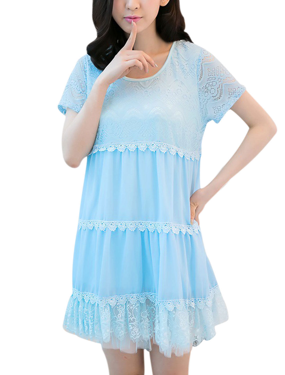 Lady Sweet Short Sleeve Lace Splice Crochet Detail Chiffon Dress Baby Blue S