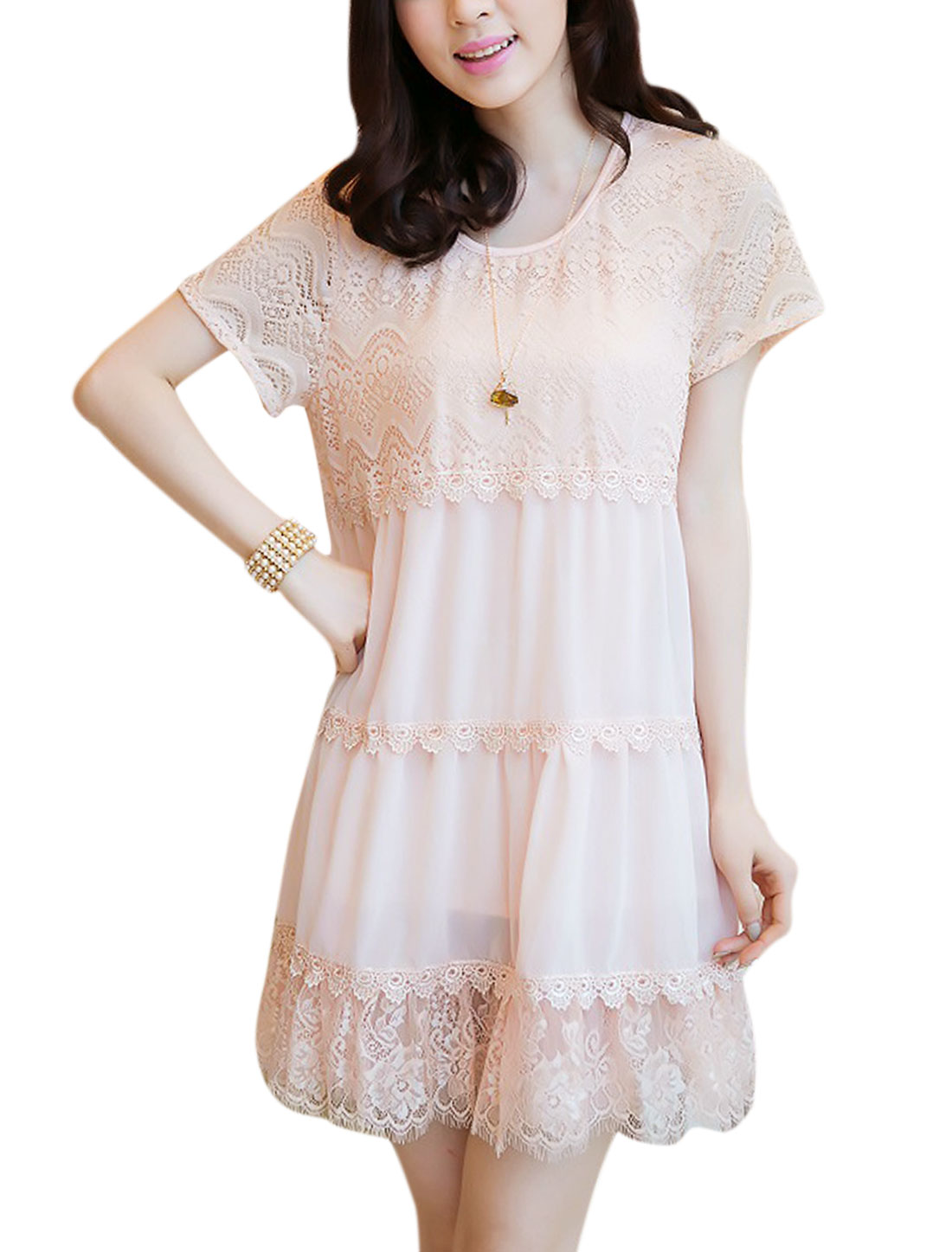 Lady Sweet Short Sleeve Lace Splice Flouncing Hem Chiffon Dress Light Pink S