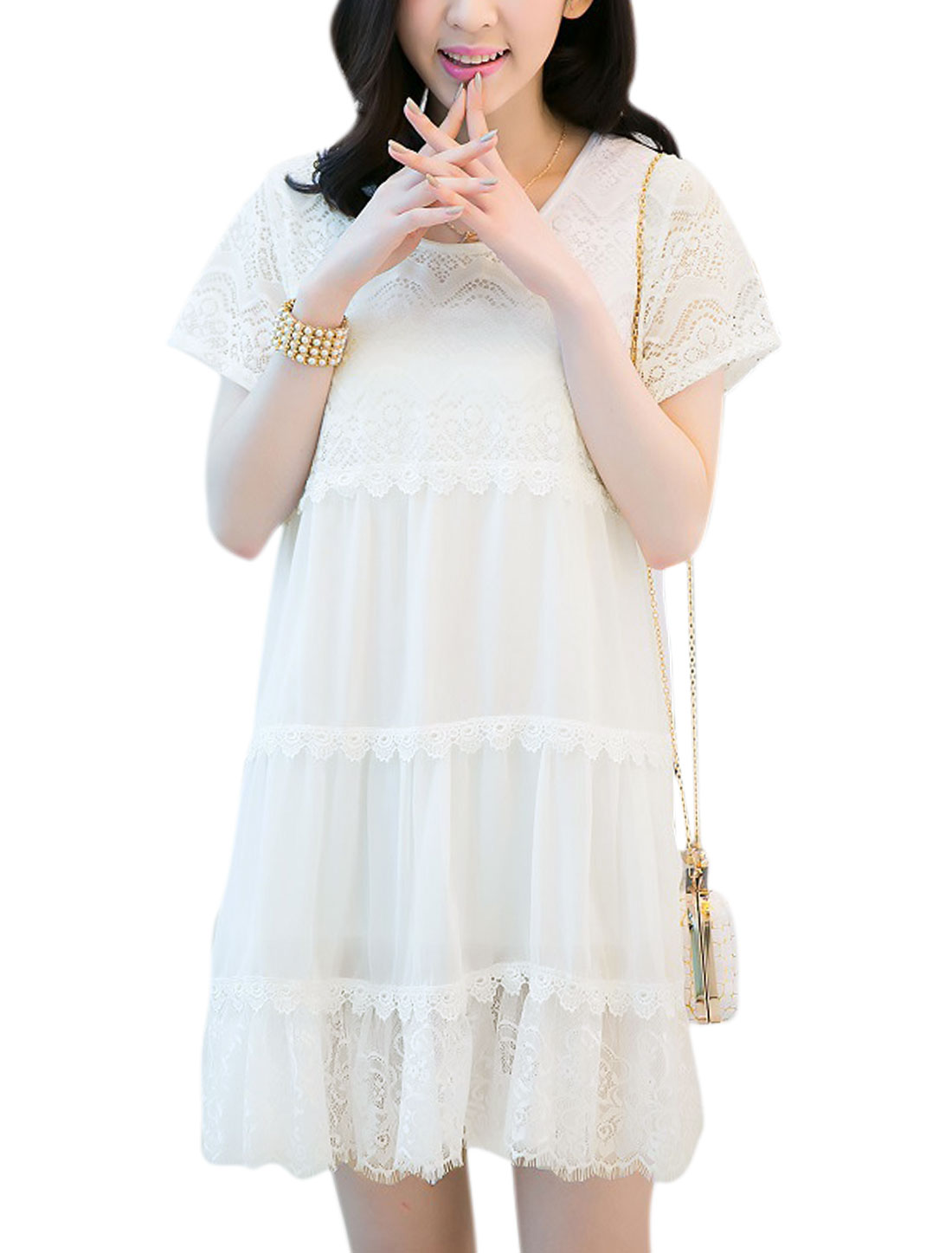 Lady Sweet Short Sleeve Mesh Patch Flouncing Hem Chiffon Dress White S
