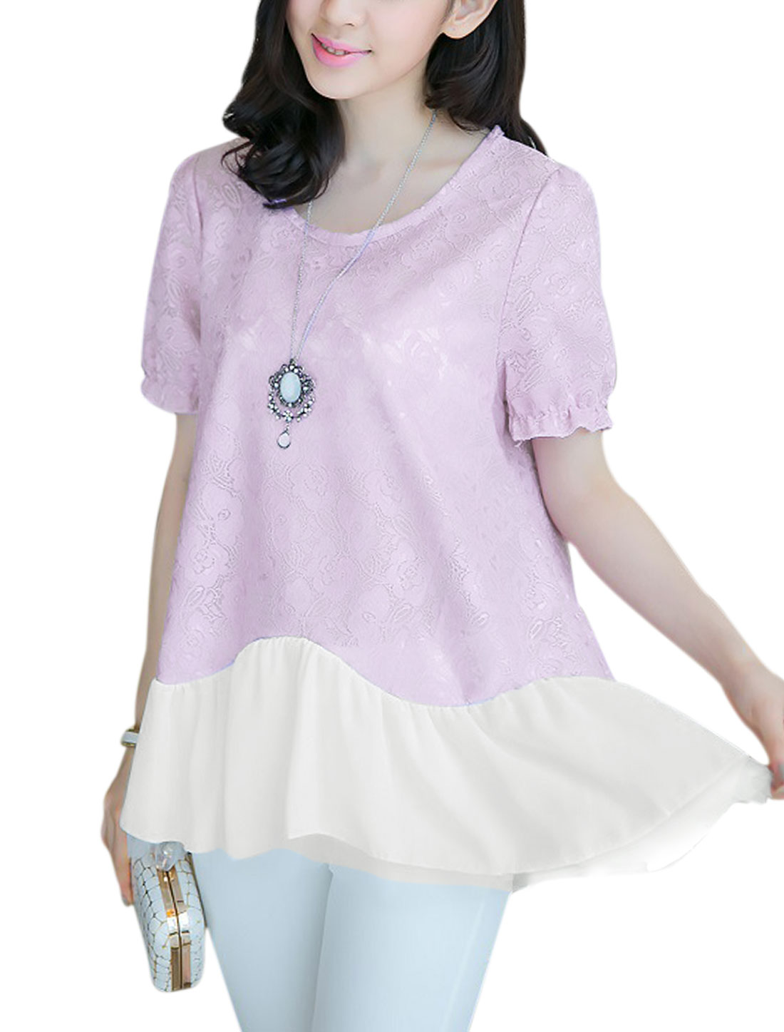 Lady Chiffon Patchwork Elastic Cuffs Pullover Lace Blouse Lavender M