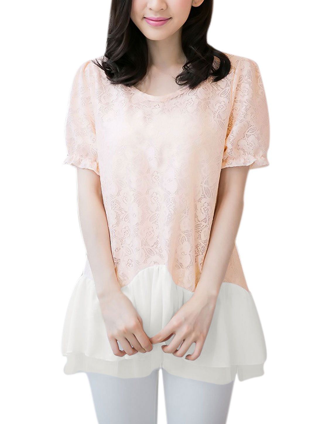Lady's Round Neck Short Sleeve Summer Fit Lace Blouse Pale Pink M