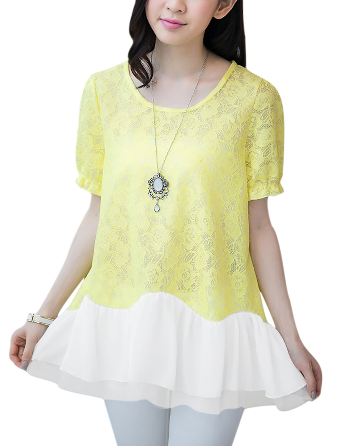 Woman's Chiffon Panel Short Sleeve Elastic Cuffs Lace Top Light Yellow M