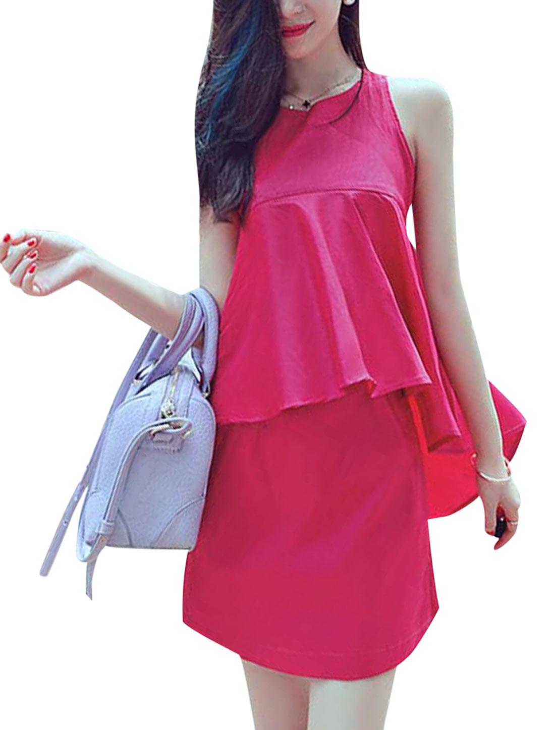Lady Concealed Zipper Back Sleeveless Layered Design Mini Dress Fuchsia XS