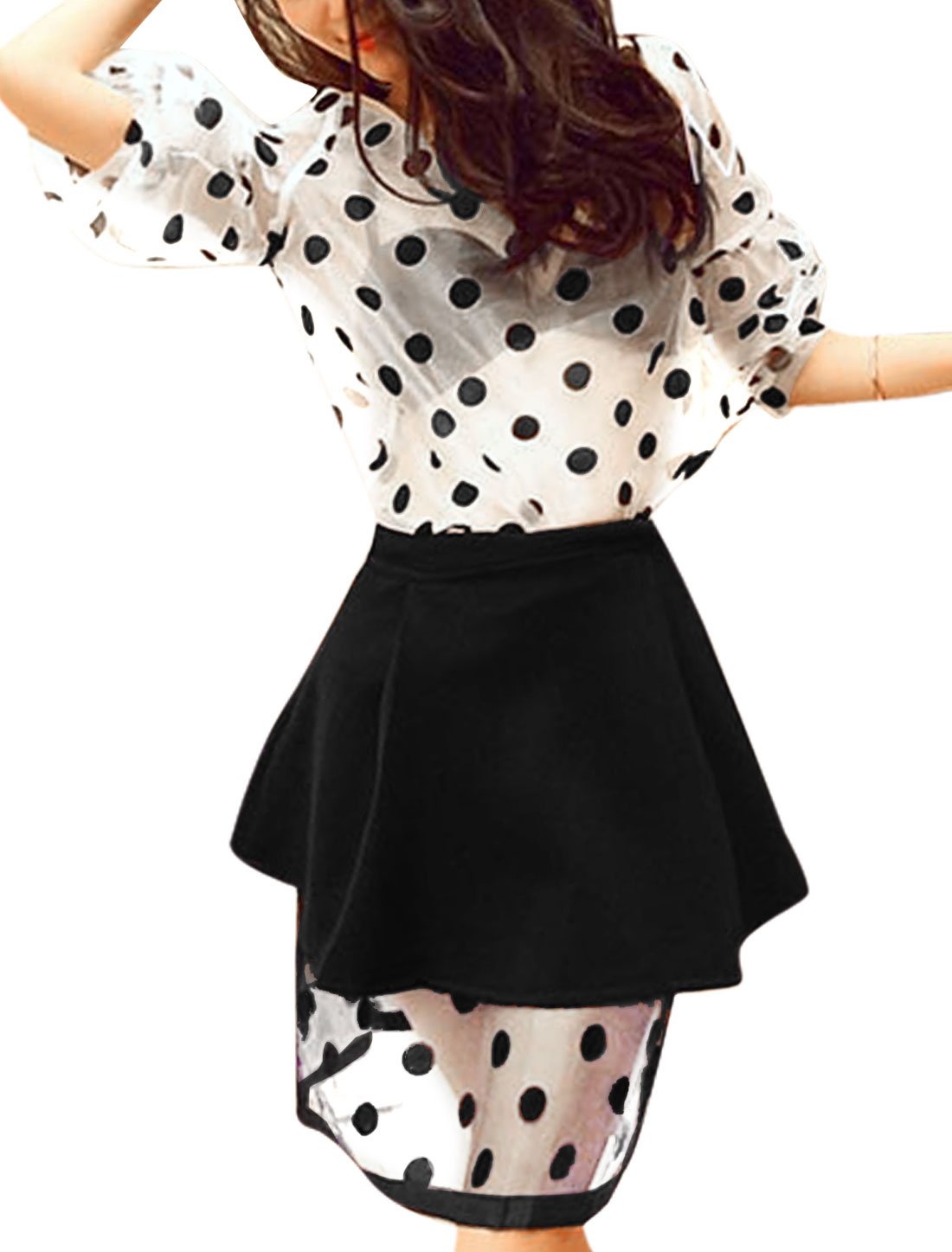 Lady's Summer Wear Bishop Sleeve Dots Pattern Semi Sheer Top w Skirt Set Black XS
