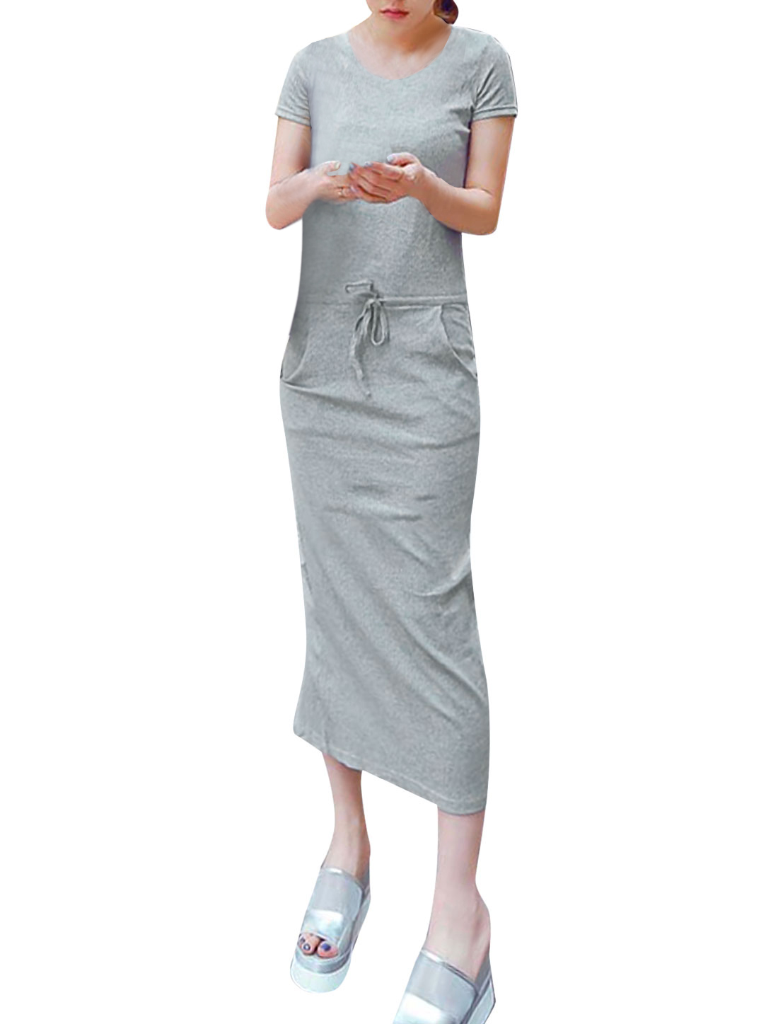Lady Casual Drawstring Waist Split Back Mid Calf Dress Gray XS