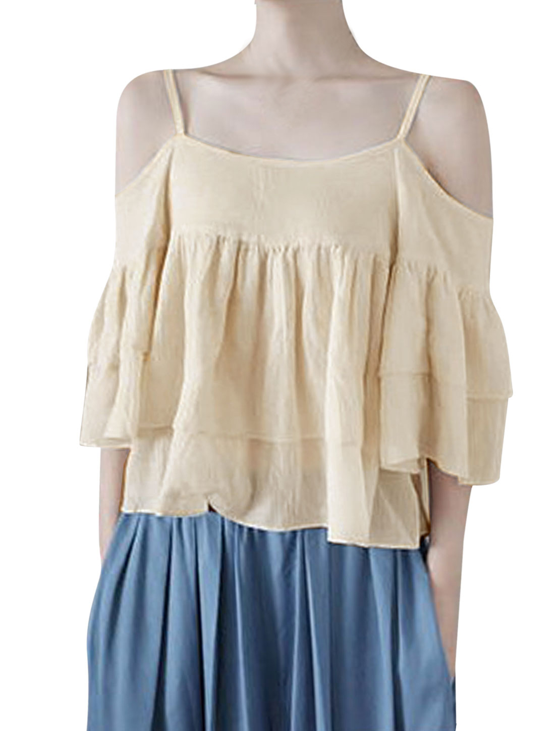 Lady Spaghetti Straps Trumpet Sleeve Ruched Detail Tiered Blouse Apricot XS