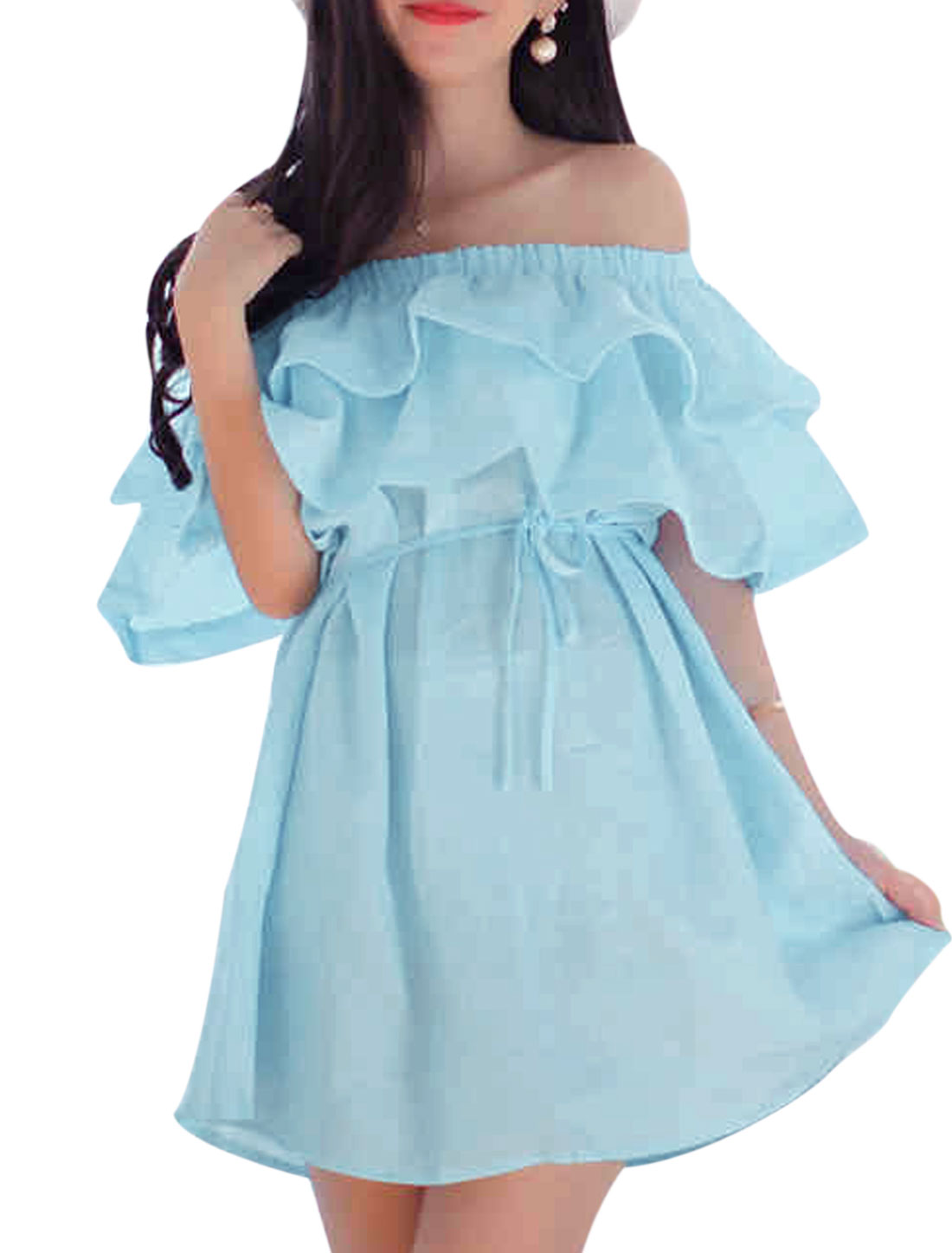 Lady's New Style Off Shoulder Ruffled Light Blue Short Dress XS