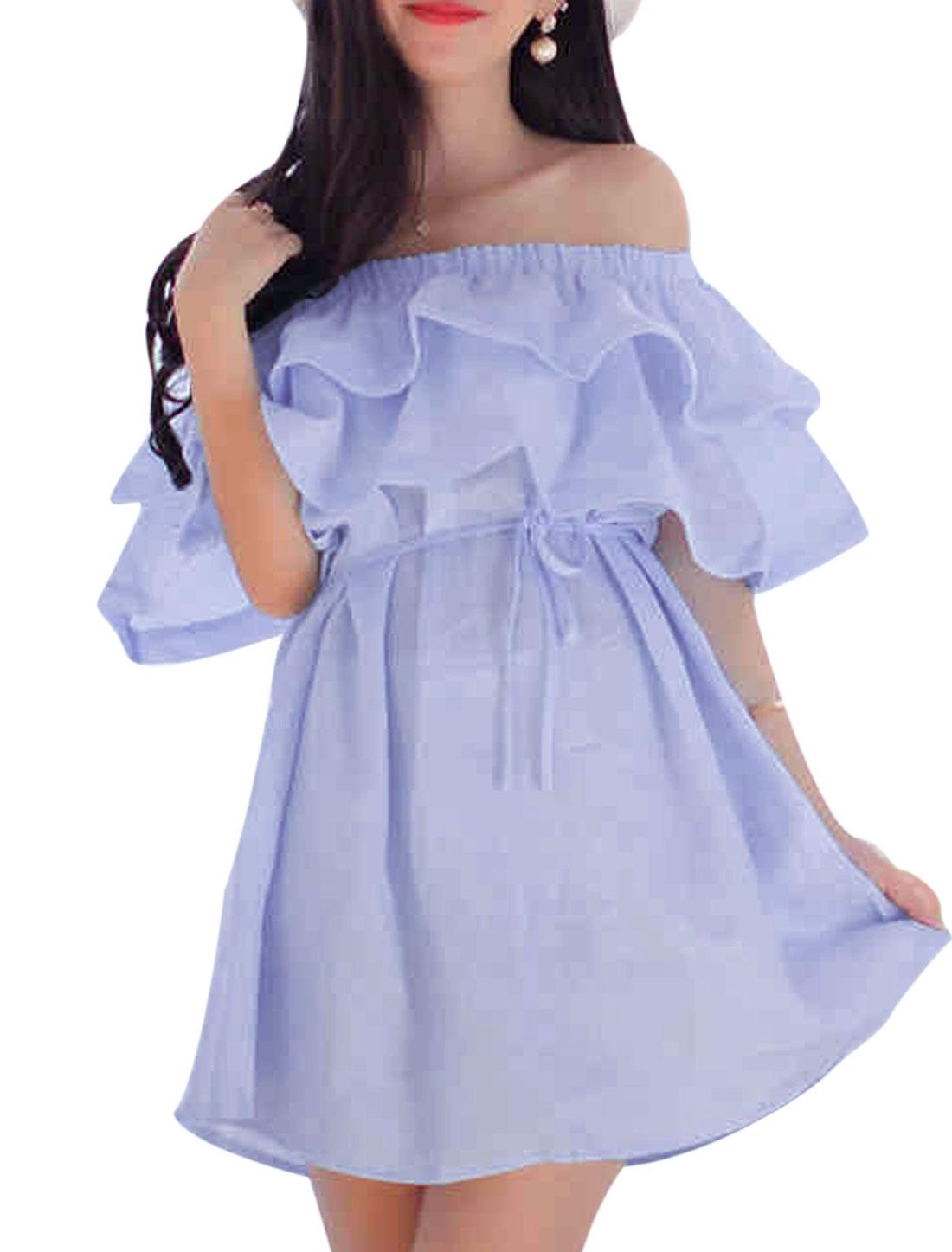 Ladies Fashion Style Summer Wear Off Shouledr Lavender Short Dress XS