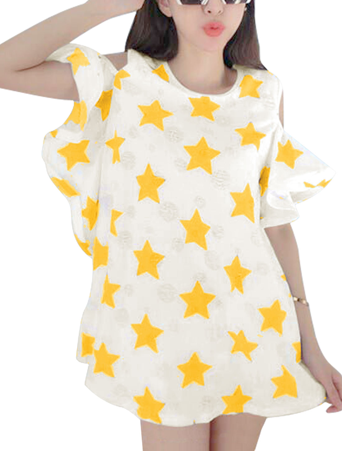 Lady's Cut Out Shoulder Ruffles Sleeves Stars Pattern Yellow Casual Tunic Top XS