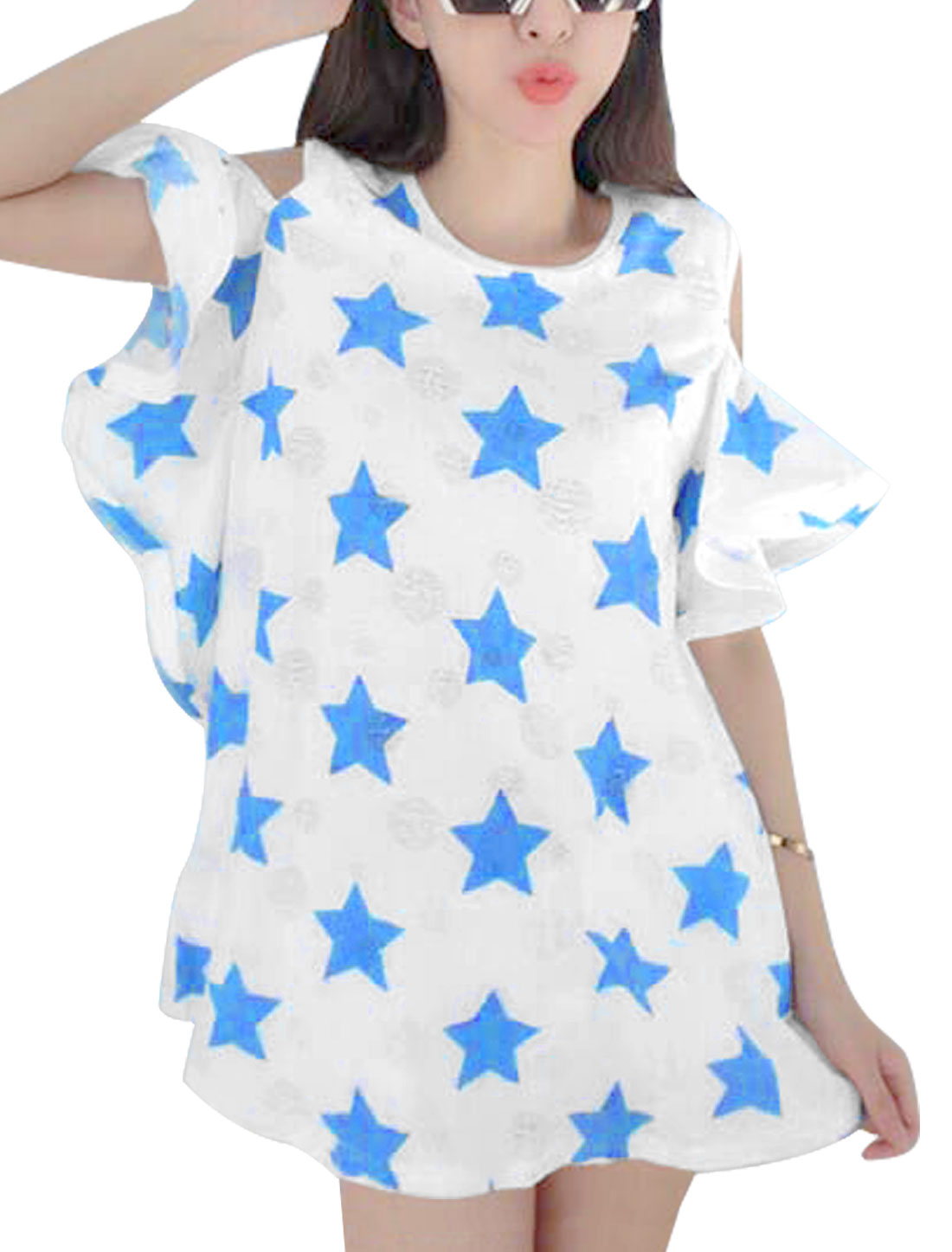Women Fashion Style Round Neck Frayed Stars Pattern Blue Tunic Top XS