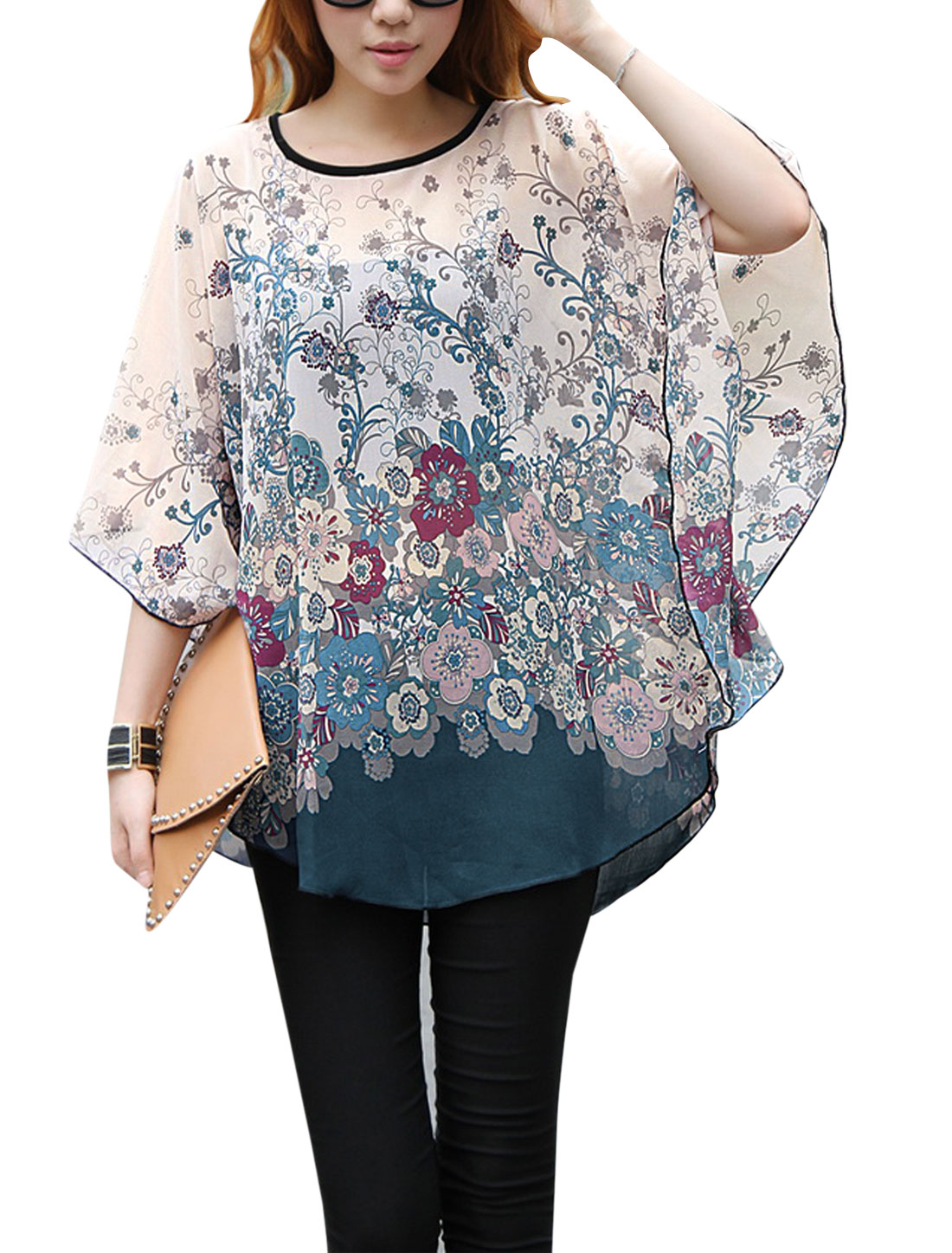 Lady Batwing Sleeve Floral Prints Semi Sheer Loose Blouse Light Salmon S
