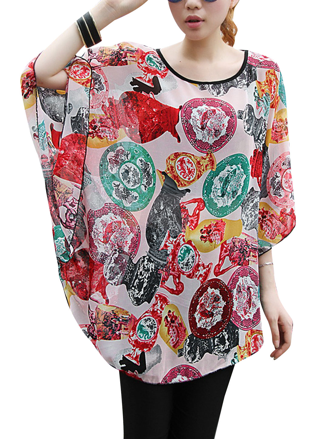 Lady Batwing Sleeve Ceramic Prints Semi Sheer Loose Blouse Multicolor S
