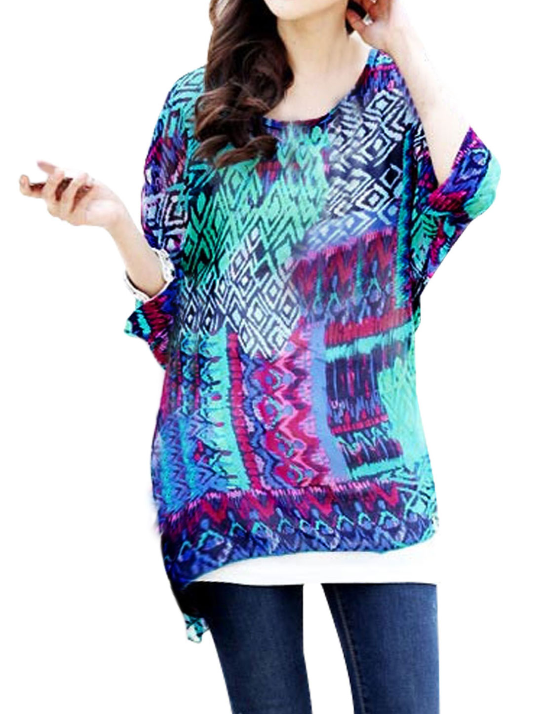 Lady Allover Print Dolman Sleeve Semi Sheer Pullover Chiffon Blouse Multicolor S