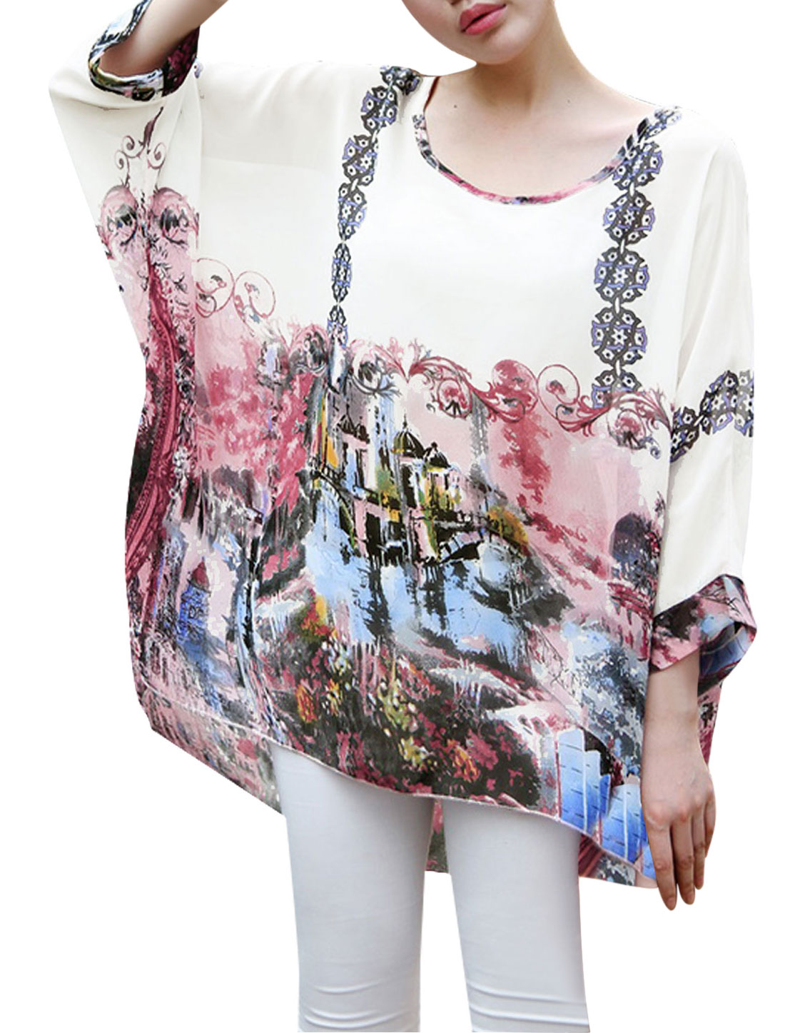 Lady House Print Pullover Short Batwing Sleeve Chiffon Blouse Salmom S
