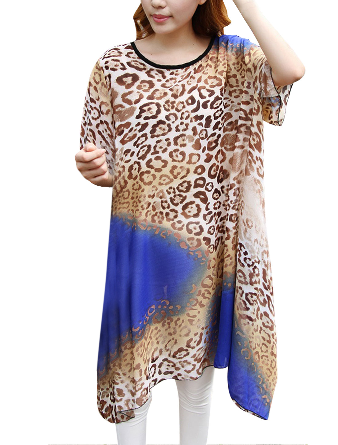 Lady Short Sleeve Leopard Prints Semi Sheer Loose Tunic Top Blue Brown S