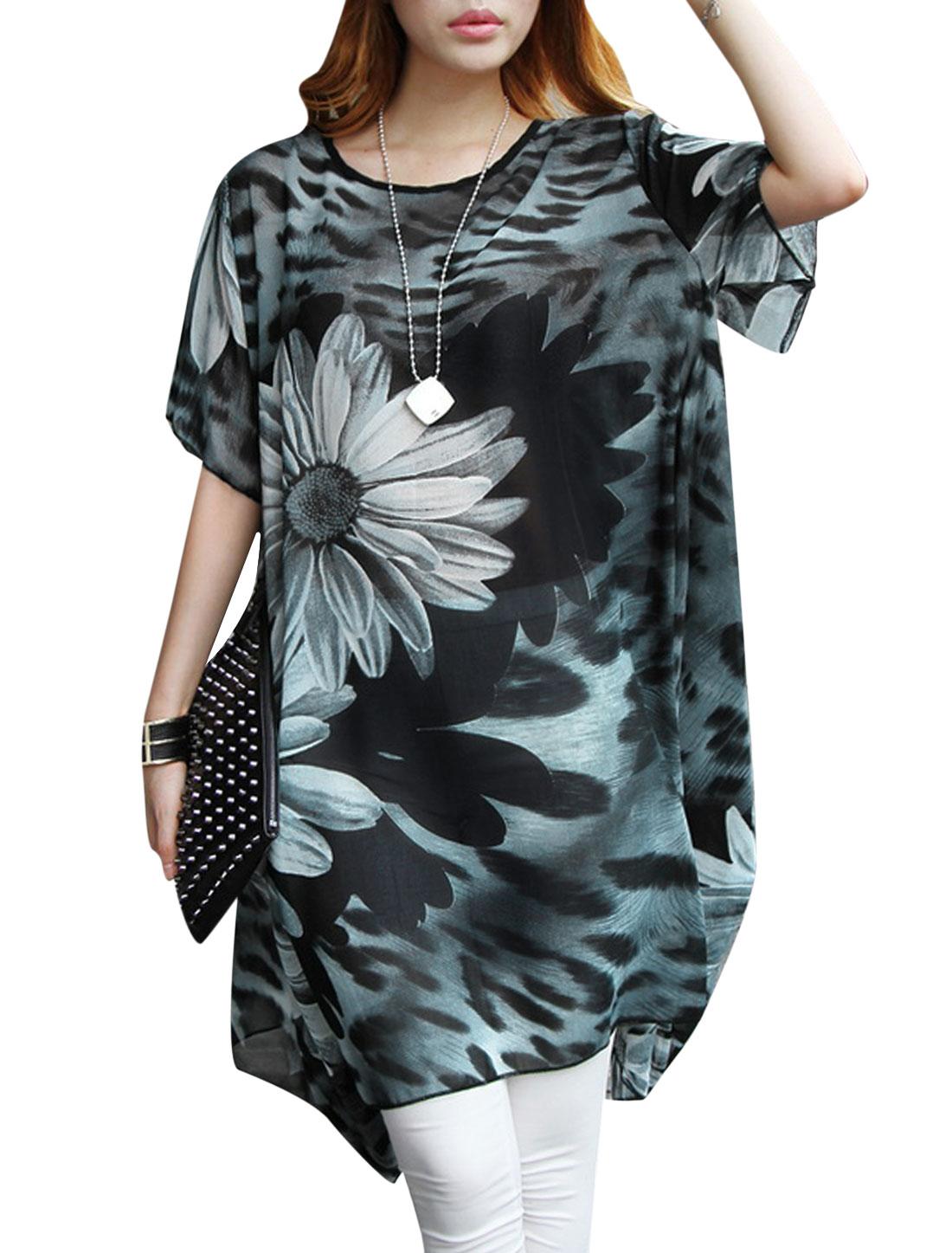 Lady Short Sleeve Floral Prints Semi Sheer Loose Tunic Top Black Dark Gray S