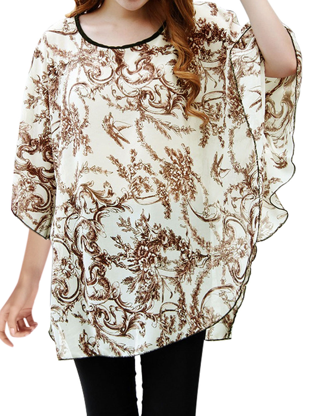 Lady Flower Vine Print Round Hem Dolman Sleeve Chiffon Blouse Beige Brown S