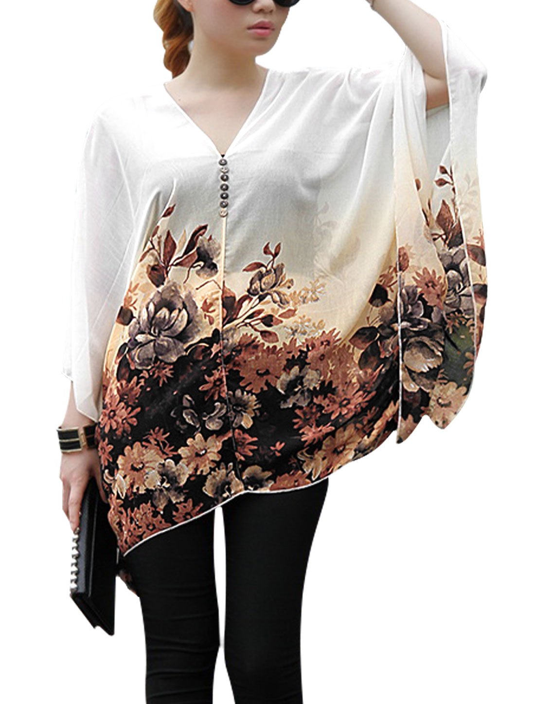 Lady V Neck Dolman Sleeve Floral Prints Semi Sheer Loose Blouse Beige Brown S