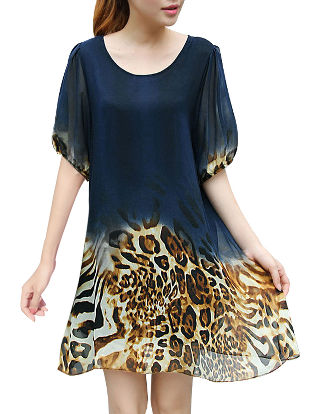 Women Short Sleeve Elastic Cuffs Leopard Prints Chiffon Dress Navy Blue S