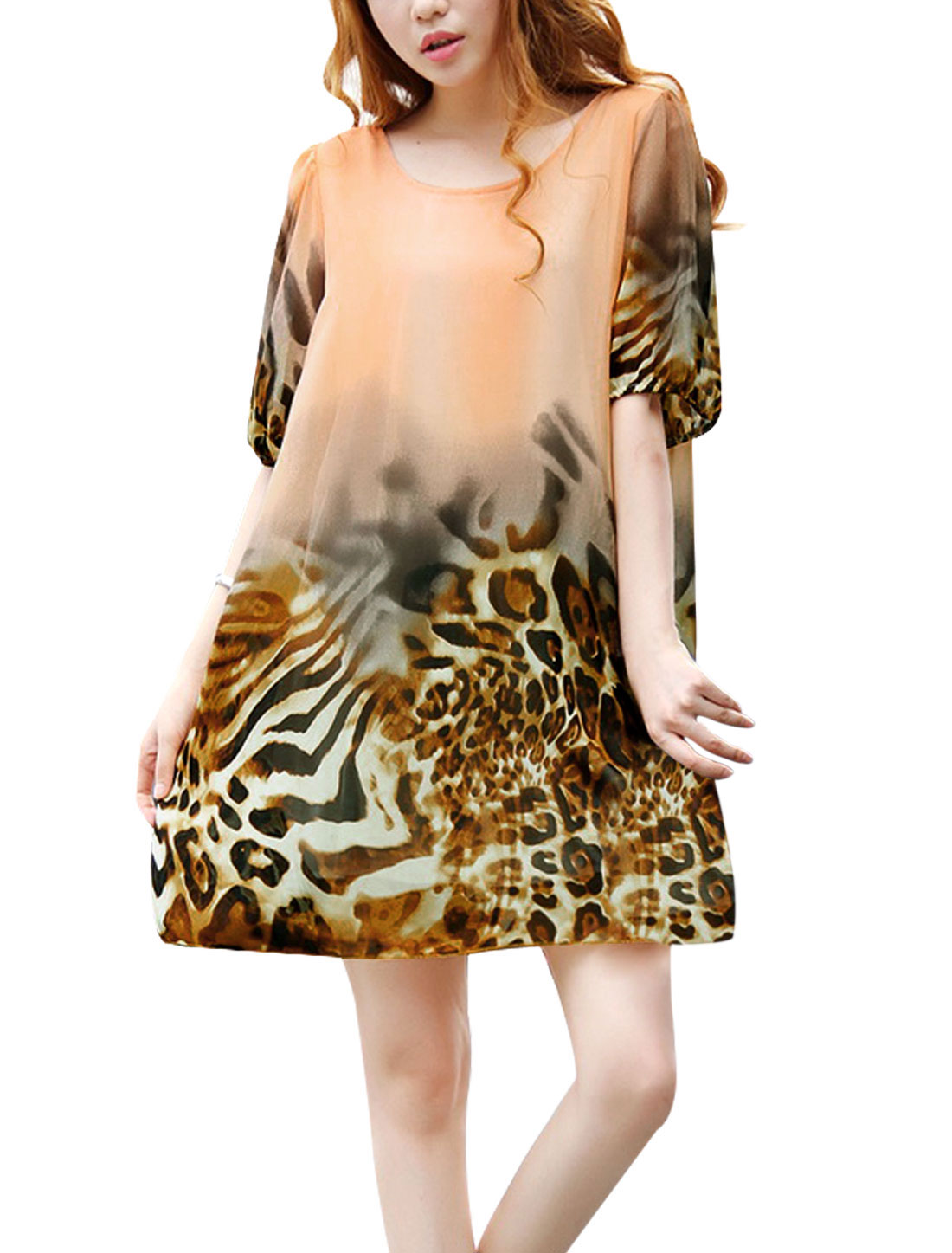 Lady Short Sleeve Elastic Cuffs Leopard Prints Lining Chiffon Dress Salmon S