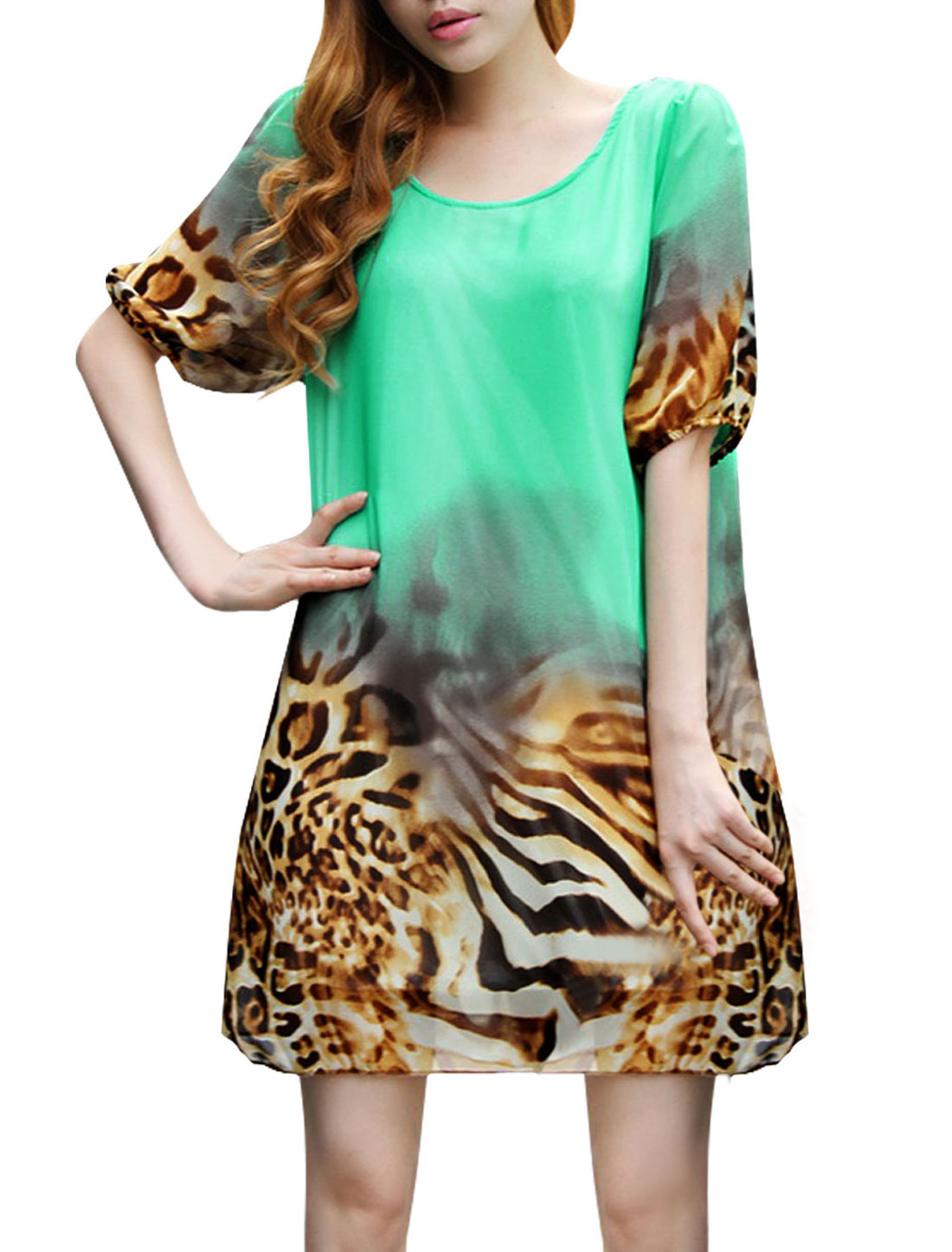 Ladies Round Neck Leopard Prints Gathered Detail Chiffon Dress Sea Green S