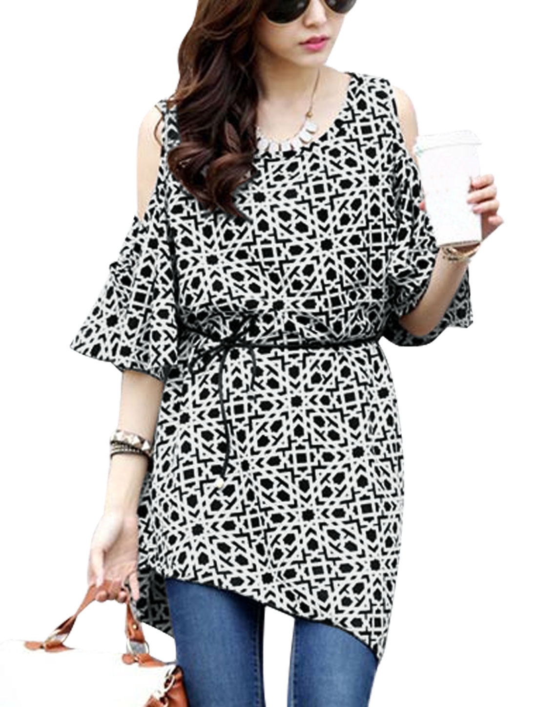 Lady High Low Hem Cut Out Shoulder Allover Prints Self Tie Blouse Black White XS
