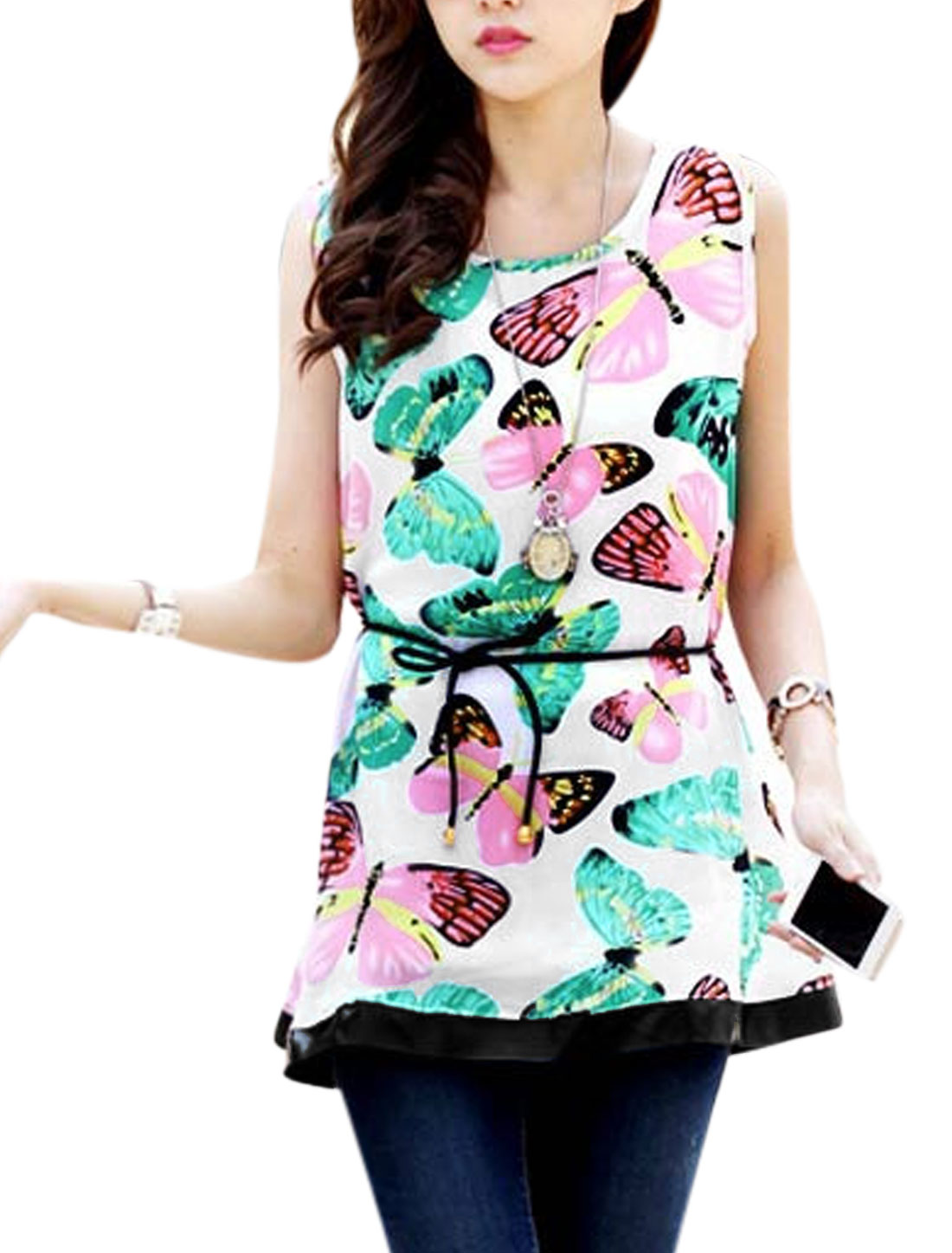 Lady Butterfly Print Sleeveless Self Tie Chiffon Blouse Multicolor XS