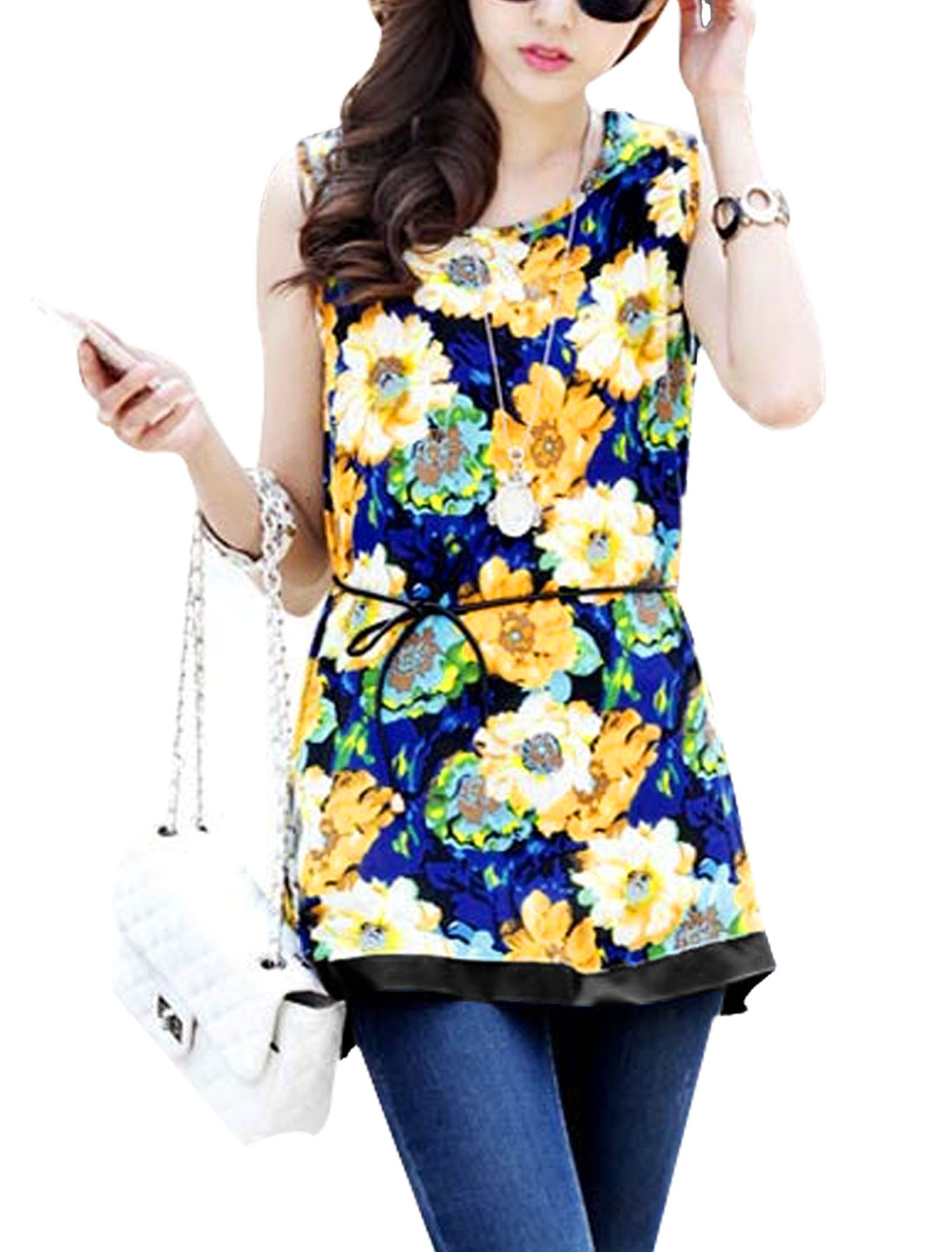 Lady Allover Floral Print Sleeveless Self Tie String Chiffon Blouse Multicolor XS
