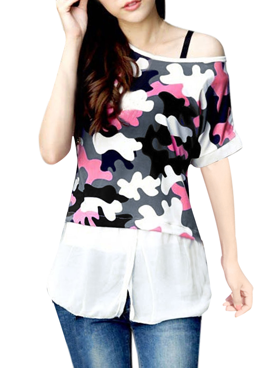 Lady Chiffon Panel Novelty Print Batwing Sleeve Tee Shirt Multicolor XS