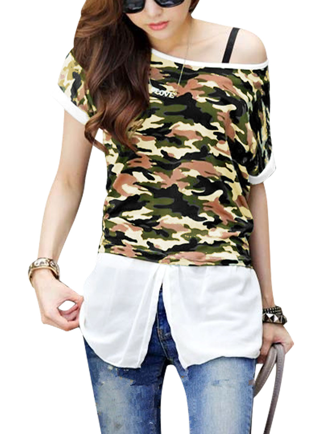 Lady's Round Neck Spliced Camouflage Pattern Split Front Top Army Green XS