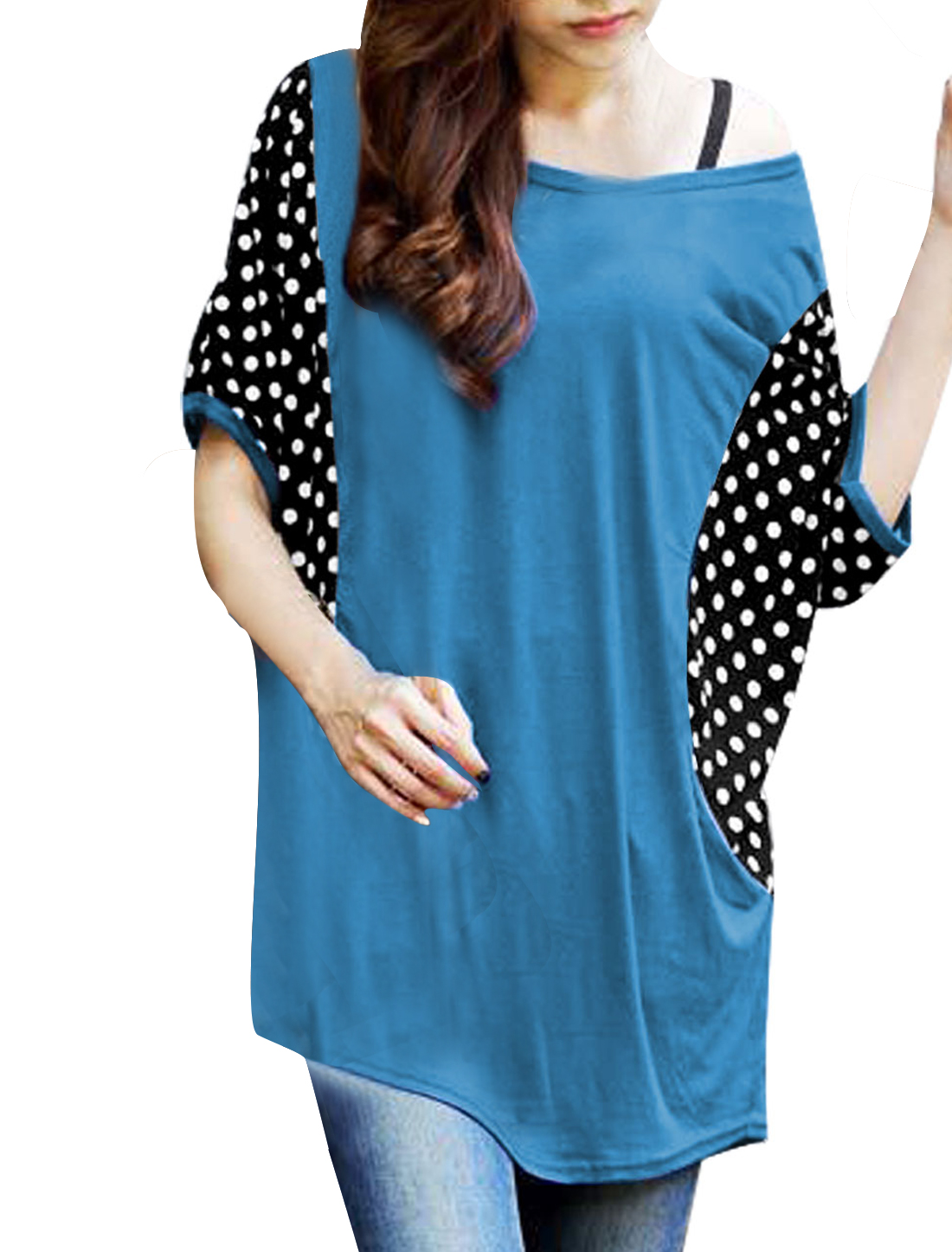 Lady Short Batwing Sleeve Dots Print Panel Tee Shirt Steel Blue S