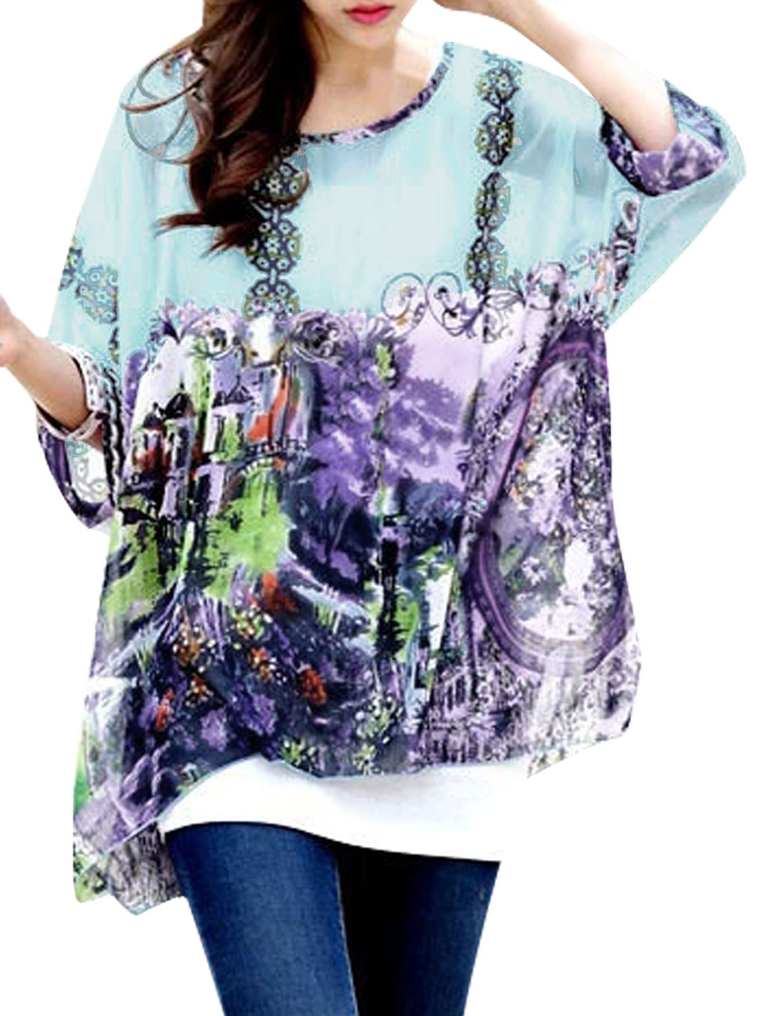 Lady Floral Print Batwing Sleeve Semi Sheer Chiffon Blouse Purple S