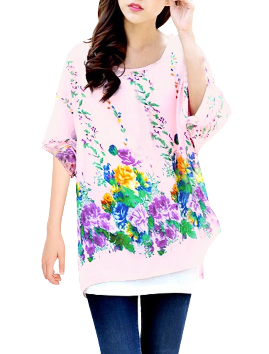 Lady's Round Neck Batwing Sleeve Floral Prints Chiffon Blouse Pink S