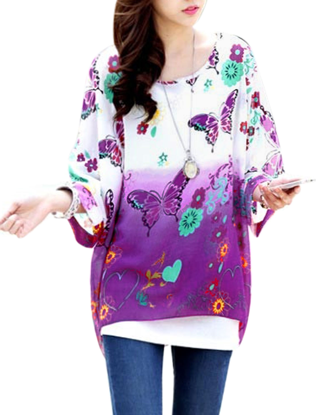 Lady Floral Butterfly Print Bat Sleeve Semi Sheer Chiffon Blouse Purple White S