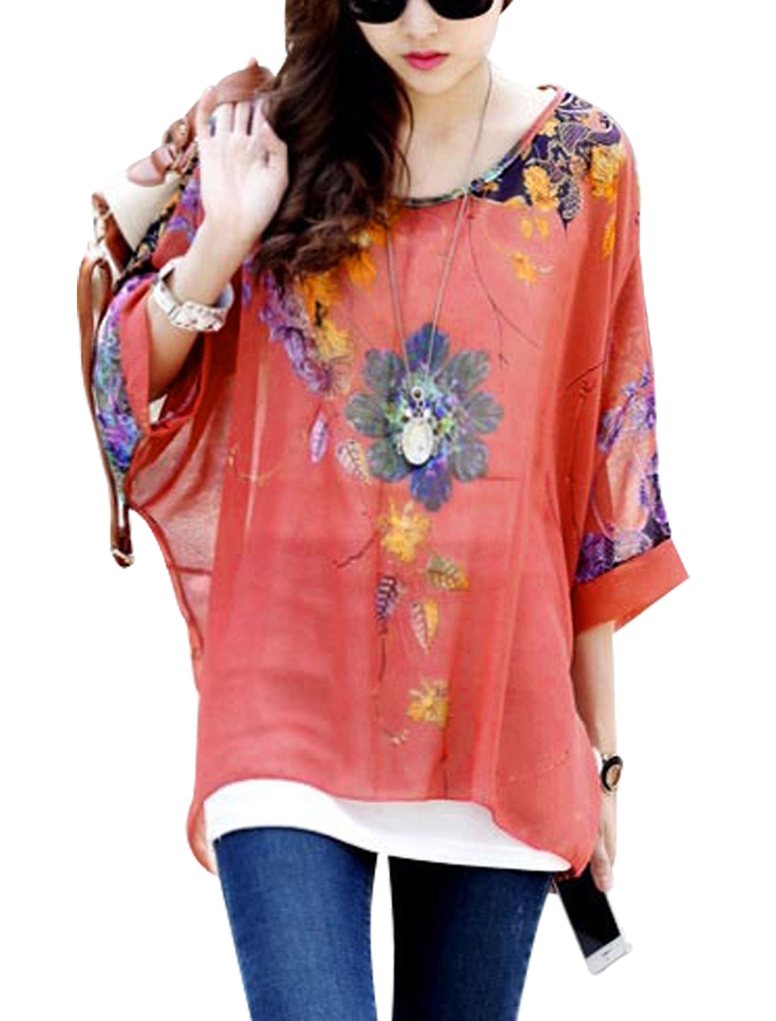 Lady Asymmetric Hem Floral Print Dolman Sleeve Chiffon Blouse Watermelon Red S