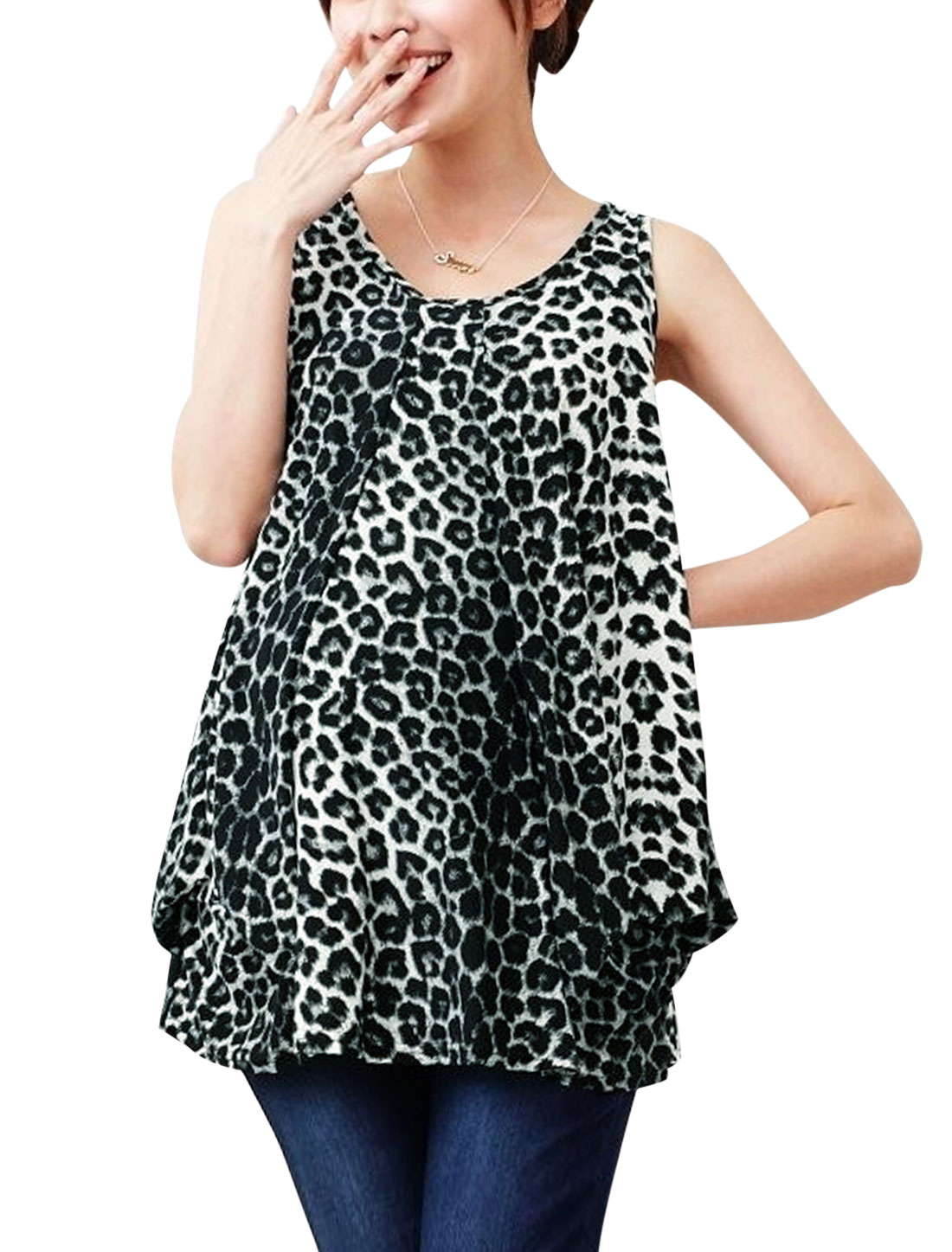 Maternity Leisure Sleeveless Ruched Detail Leopard Prints Blouse Black M